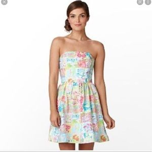Lilly Pulitzer State of Mind Lottie Patchwork Mini Dress Strapless Lined Size 8